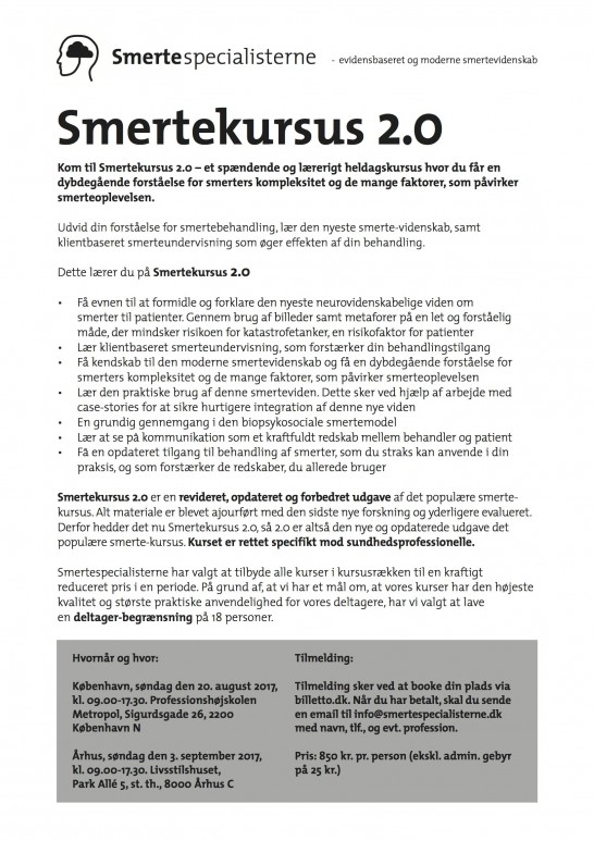 Smertekursus Aug 2017
